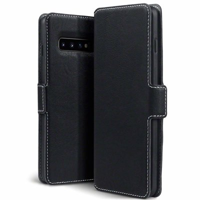 Samsung Galaxy S10 hoesje, MobyDefend slim-fit extra dunne bookcase, Zwart