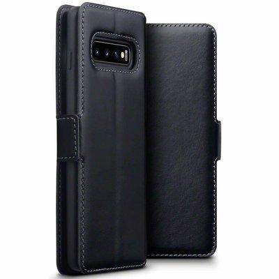 Samsung Galaxy S10 hoesje, MobyDefend slim-fit echt leren bookcase, Zwart