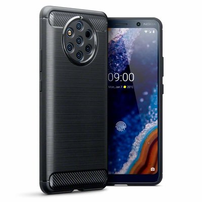 Nokia 9 PureView hoesje, gel case carbonlook, zwart