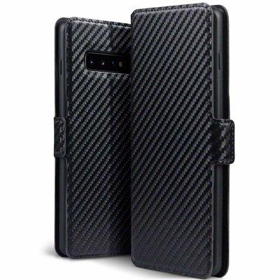 Samsung Galaxy S10 Plus (S10+) hoesje, MobyDefend slim-fit carbonlook bookcase, Zwart