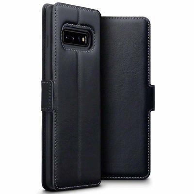Samsung Galaxy S10 Plus (S10+) hoesje, MobyDefend slim-fit echt leren bookcase, Zwart