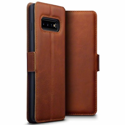 Samsung Galaxy S10 Plus (S10+) hoesje, MobyDefend slim-fit echt leren bookcase, Cognac bruin