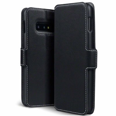 Samsung Galaxy S10E hoesje, MobyDefend slim-fit extra dunne bookcase, Zwart