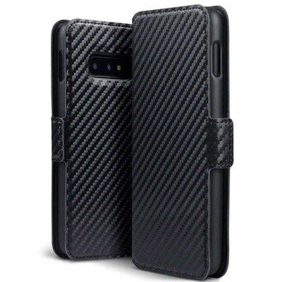Samsung Galaxy S10E hoesje, MobyDefend slim-fit carbonlook bookcase, Zwart