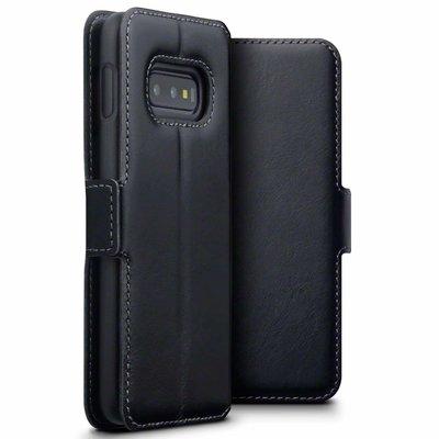 Samsung Galaxy S10E hoesje, MobyDefend slim-fit echt leren bookcase, Zwart