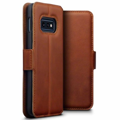 Samsung Galaxy S10E hoesje, MobyDefend slim-fit echt leren bookcase, Cognac bruin