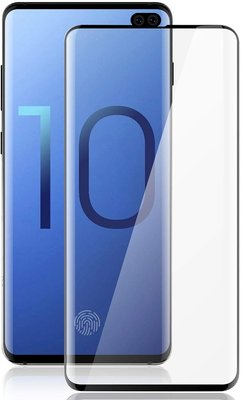 Samsung Galaxy S10 screenprotector, tempered glass (glazen screenprotector), zwarte randen