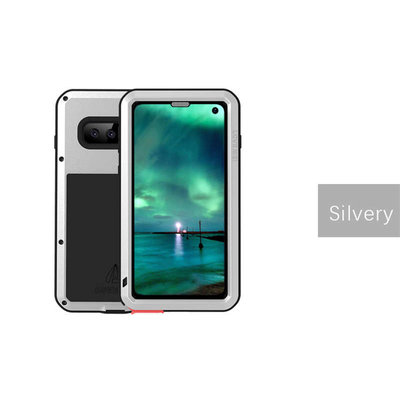 Samsung Galaxy S10 hoes, Love Mei, metalen extreme protection case, zwart-zilver