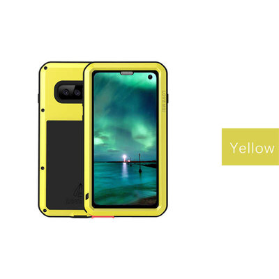 Samsung Galaxy S10 hoes, Love Mei, metalen extreme protection case, zwart-geel