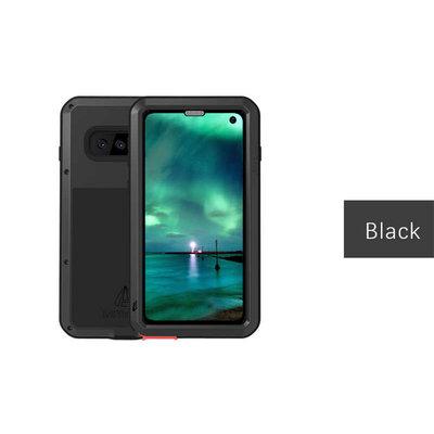 Samsung Galaxy S10E hoes, Love Mei, metalen extreme protection case, zwart