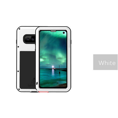 Samsung Galaxy S10E hoes, Love Mei, metalen extreme protection case, zwart-wit