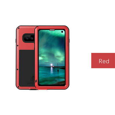 Samsung Galaxy S10E hoes, Love Mei, metalen extreme protection case, zwart-rood