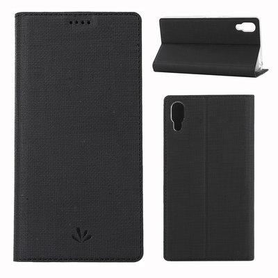 Sony Xperia L3 hoesje, canvas bookcase, zwart