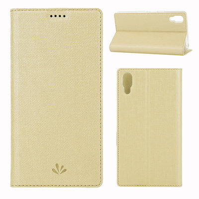 Sony Xperia L3 hoesje, canvas bookcase, goud