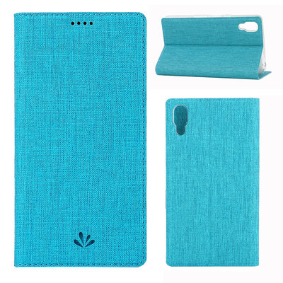 Sony Xperia L3 hoesje, canvas bookcase, blauw
