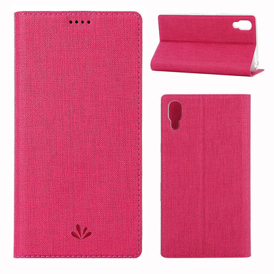 Sony Xperia L3 hoesje, canvas bookcase, roze
