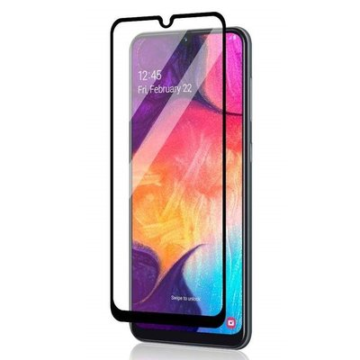 Samsung Galaxy A50 / A30S screenprotector, tempered glass (glazen screenprotector), zwarte randen