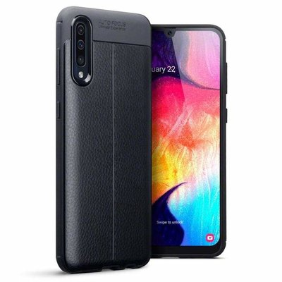 Samsung Galaxy A50 / A30S hoesje, gel case lederlook, zwart