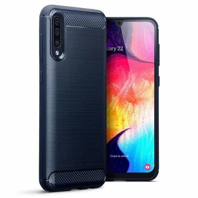 Samsung Galaxy A50 / A30S hoesje, gel case carbonlook, navy blauw