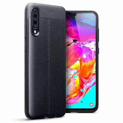 Samsung Galaxy A70 hoesje, gel case lederlook, zwart