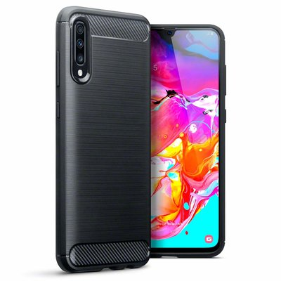 Samsung Galaxy A70 hoesje, gel case carbonlook, zwart