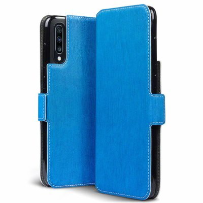 Samsung Galaxy A70 hoesje, MobyDefend slim-fit extra dunne bookcase, Blauw