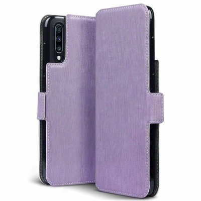 Samsung Galaxy A70 hoesje, MobyDefend slim-fit extra dunne bookcase, Paars