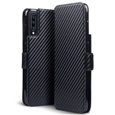 Samsung Galaxy A70 hoesje, MobyDefend slim-fit carbonlook bookcase, Zwart
