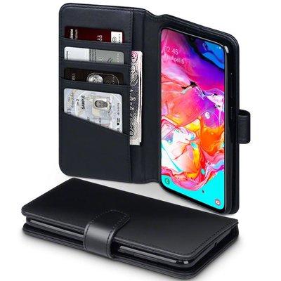 Samsung Galaxy A70 hoesje, MobyDefend luxe echt leren bookcase, Zwart