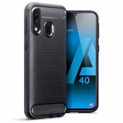 Samsung Galaxy A40 hoesje, gel case carbonlook, zwart