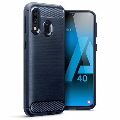 Samsung Galaxy A40 hoesje, gel case carbonlook, navy blauw