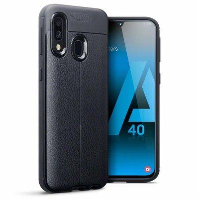 Samsung Galaxy A40 hoesje, gel case lederlook, zwart