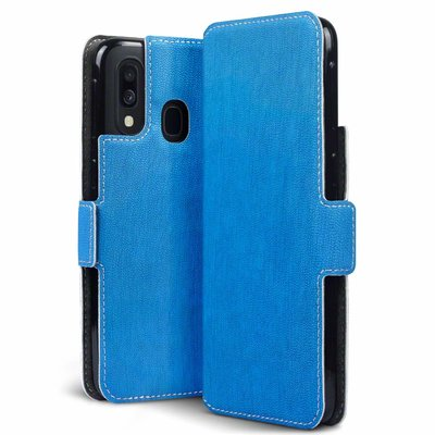 Samsung Galaxy A40 hoesje, MobyDefend slim-fit extra dunne bookcase, Blauw