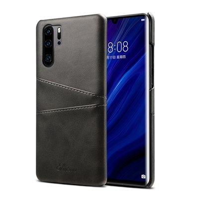Huawei P30 Pro hoesje, Lederen hardcase met kaarthouder, zwart