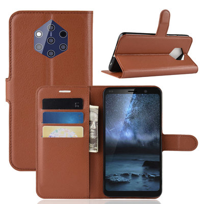 Nokia 9 PureView hoesje, 3-in-1 bookcase, bruin
