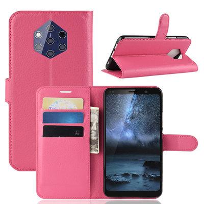 Nokia 9 PureView hoesje, 3-in-1 bookcase, donkerroze