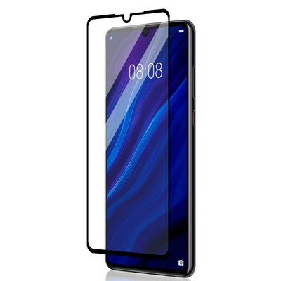 Huawei P30 screenprotector, tempered glass (glazen screenprotector), zwarte randen