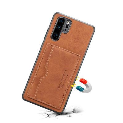 Huawei P30 Pro hoesje, Lederen gelcase met standaard en kaarthouder, cognac bruin