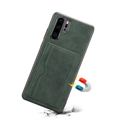 Huawei P30 Pro hoesje, Lederen gelcase met standaard en kaarthouder, groen