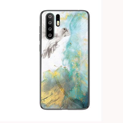 Huawei P30 Pro hoesje, Marmer gel case, wit-groen-geel
