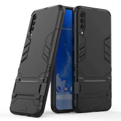 Samsung Galaxy A70 hoesje, dubbel gelaagde pantser case met standaard, zwart