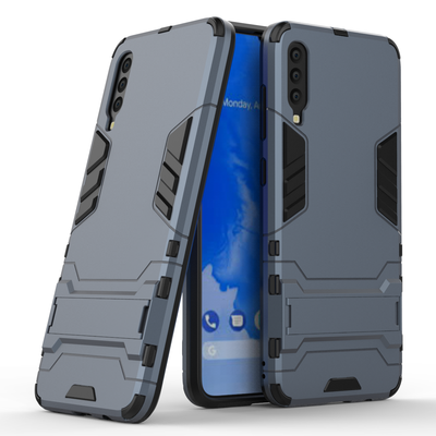 Samsung Galaxy A70 hoesje, dubbel gelaagde pantser case met standaard, navy blauw