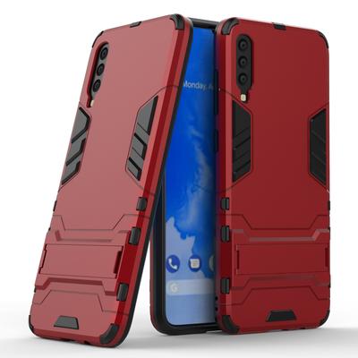 Samsung Galaxy A70 hoesje, dubbel gelaagde pantser case met standaard, rood