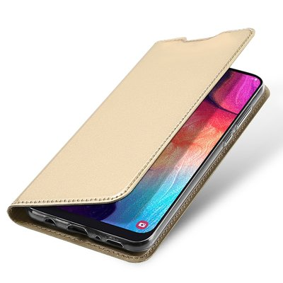 Samsung Galaxy A50 hoesje, slim fit bookcase, goud