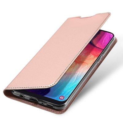 Samsung Galaxy A50 hoesje, slim fit bookcase, rosé goud