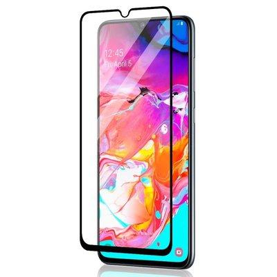 Samsung Galaxy A70 screenprotector, tempered glass (glazen screenprotector), zwarte randen