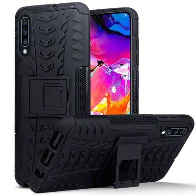 Samsung Galaxy A70 hoesje, Pantsercase met standaard, zwart