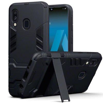 Samsung Galaxy A40 hoesje, dubbel gelaagde pantser case met standaard, zwart