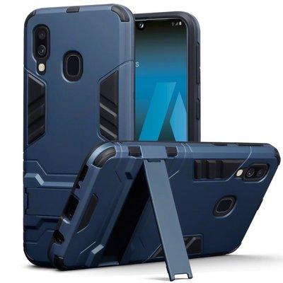 Samsung Galaxy A40 hoesje, dubbel gelaagde pantser case met standaard, navy blauw