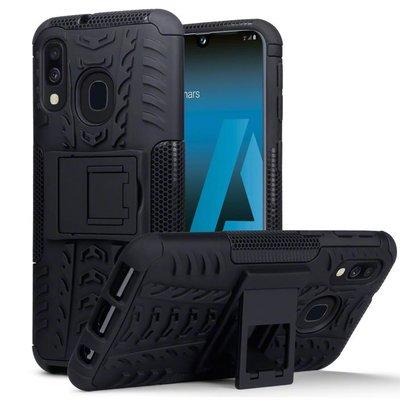 Samsung Galaxy A40 hoesje, Pantsercase met standaard, zwart